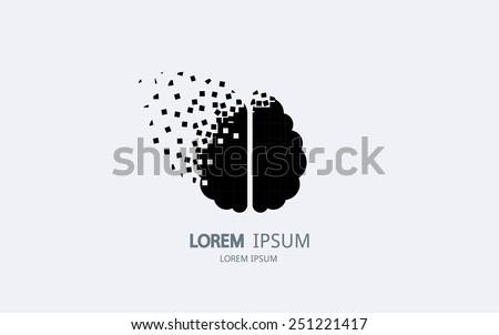 Pixel art brain logo. Vector logotype design. - stock vector