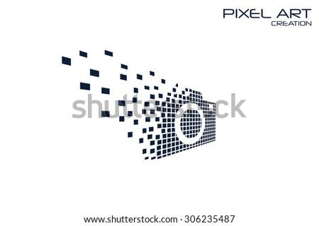 Pixel art camera logo on white background. - stock vector