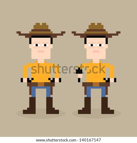 Pixel art cowboy holding a gun, vector illustration - stock vector