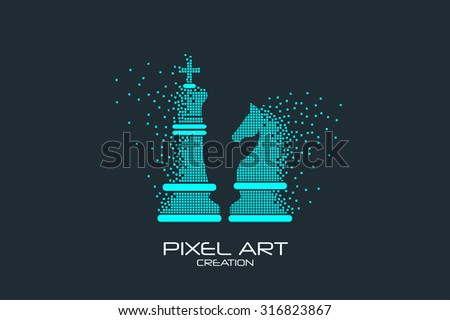 Pixel art design of the chess knight and king logo. - stock vector