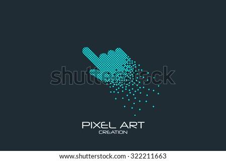 Pixel art design of the click sign logo. - stock vector