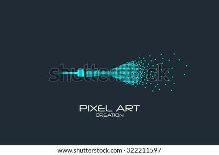 Pixel art design of the dart logo. - stock vector