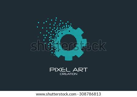 Pixel art design of the gear logo. - stock vector