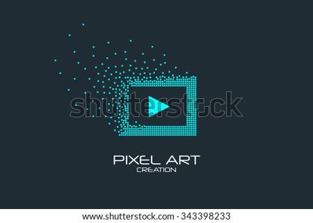 Pixel art design of the multimedia player icon logo. - stock vector
