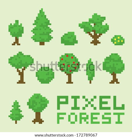 Pixel art forest isolated vector set - stock vector