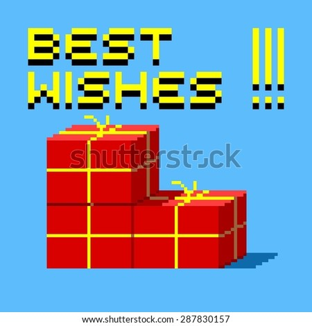 Pixel art greeting card with red boxes and best wishes - stock vector