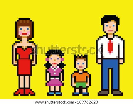 Pixel art happy family video game style vector illustration - stock vector