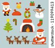 Pixel art icons for Christmas holidays, vector illustration - stock vector