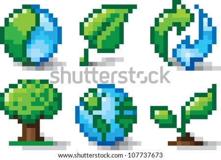 Pixel art illustration of various icons relating to nature and environmental conservation. Isolated on white. - stock vector