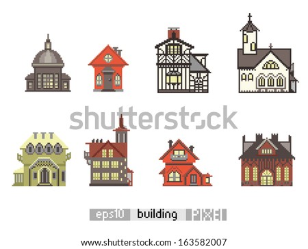 Pixel art isometric vintage building isolated - stock vector
