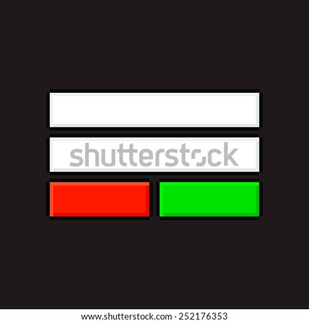 Pixel art login screen elements with text field, green and red buttons - stock vector