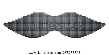 pixel art mustache - stock vector