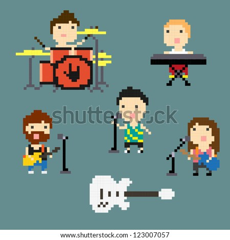 Pixel art rock band icons, vector - stock vector