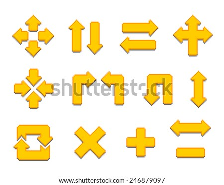 Pixel Art Signs And Arrows - stock vector