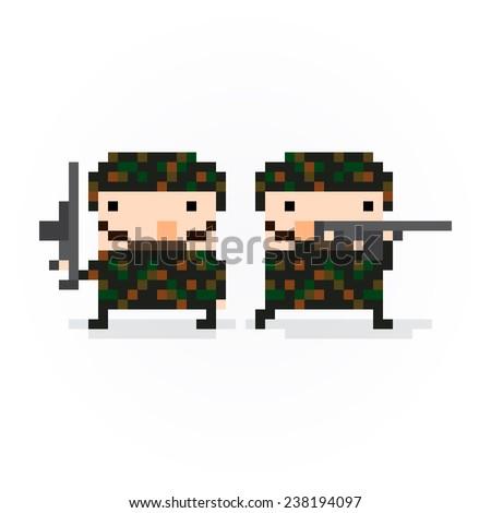Pixel art soldiers in camouflage posing - stock vector
