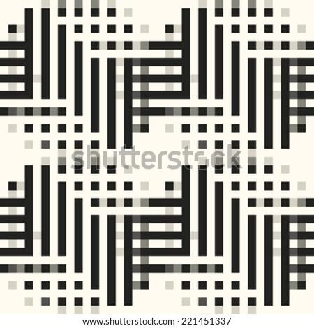 Pixel art urban chevron seamless pattern. Vector. - stock vector
