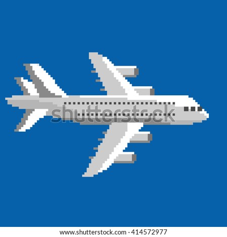 Pixel art vector illustration of airplane. Airline service. Flying air passenger transport - stock vector