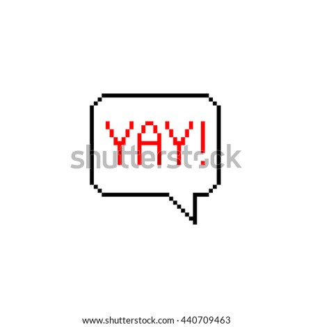 Pixel 8 bit cartoon illustration of Yay! Explosion in comic style lettering isolated on white background / vector eps 10 speech bubble - stock vector