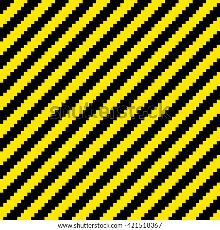 Pixel Black and Yellow Diagonal Warning Stripes Seamless Tile. EPS8 Vector - stock vector