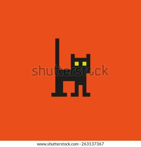 Pixel black cat. - stock vector