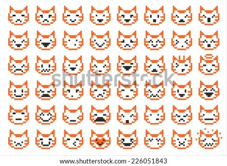 pixel cat different facial expressions - smileys, vector illustration - stock vector