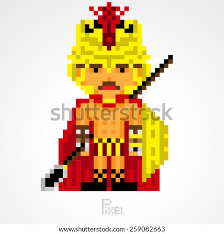 pixel character fighter spartan golden shield with spear weapons vector - stock vector