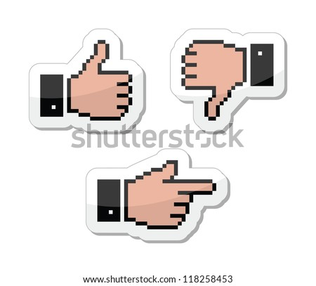 Pixel cursor icons - thumb up, like it, pointing hand - stock vector