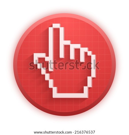 Pixel cursor round icons mouse click hand. Premium design for Web and Mobile Application. Vector Illustration isolated on white background. - stock vector