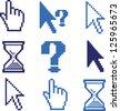 pixel cursors, pointer, hands icons set, vector - stock vector