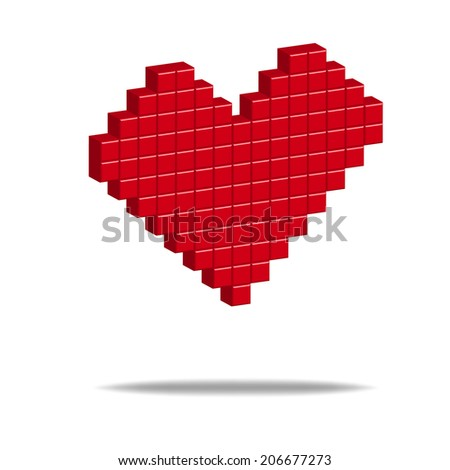 Pixel 3D vector illustration for Design, Web Site. Red heart object - stock vector