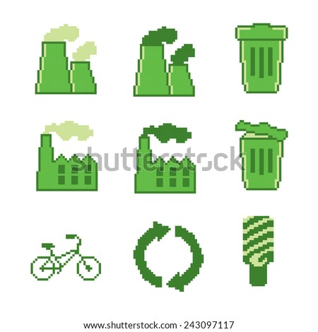 Pixel ecology ( eco ) and environmental icons and signs. Green set. Old school computer graphic style. - stock vector