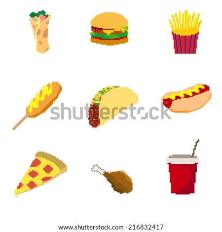 Pixel fat food set - stock vector