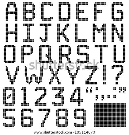 Pixel Font - Alphabets, numerals and punctuation characters in retro square pixel font. Isolated and contains spare pixels. Image ID: 185252162 has the lower case alphabets. - stock vector