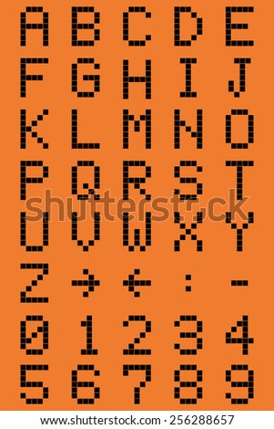 Pixel font and numbers - vector drawing - stock vector