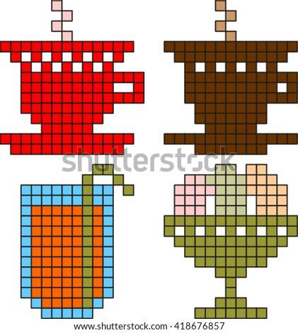 Pixel food - stock vector