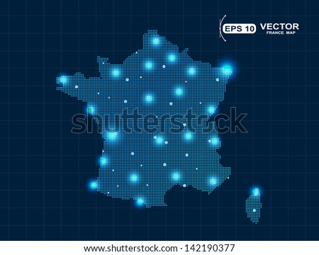 pixel France map with spot lights - stock vector
