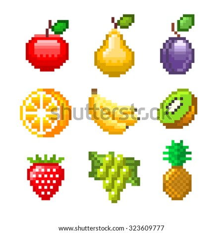 Pixel fruits for games icons high detailed vector set - stock vector