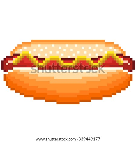 Pixel hot dog high detailed isolated vector - stock vector