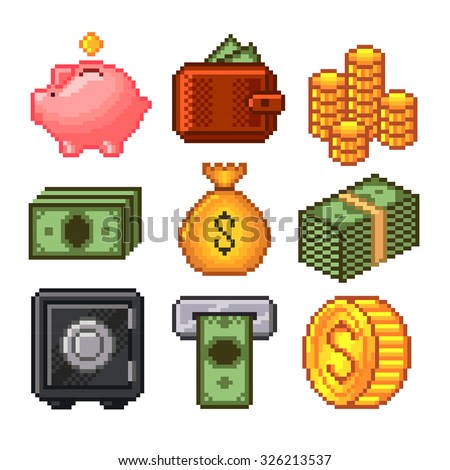 Pixel money icons high detailed vector set - stock vector