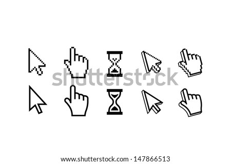 Pixel Mouse Cursors pointer, arrow and wait - stock vector