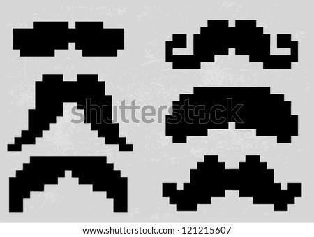 Pixel Mustache set - stock vector