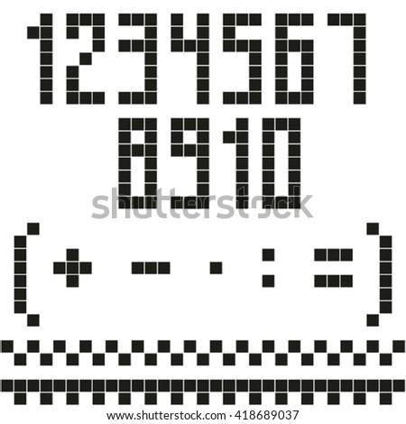 Pixel numbers set. - stock vector