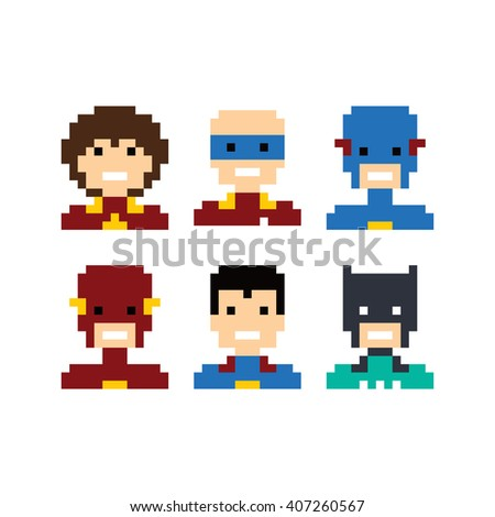 pixel people superhero avatar set vector art illustration - stock vector