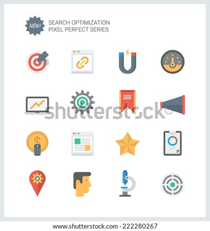 Pixel perfect flat icons set of website searching engine optimization, seo analytics and data management, webpage traffic development. Flat design style modern pictogram collection. - stock vector