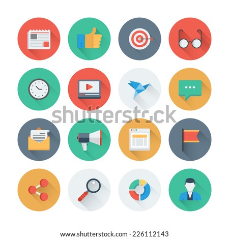 Pixel perfect flat icons set with long shadow effect of digital marketing symbol, business development items, social media objects and office equipment. Flat design style modern pictogram collection. - stock vector