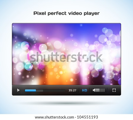 Pixel perfect video player for web. Easy re size and edit. Pause icon included. - stock vector
