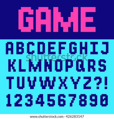Pixel retro font Video computer game design 8 bit letters and numbers Electronic futuristic style Vector abc - stock vector