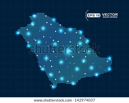 pixel Saudi Arabia map with light effect presentation - stock vector