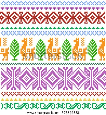 pixel seamless pattern Aztecs - stock vector