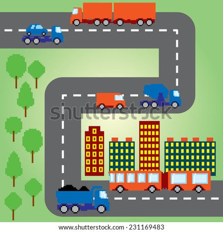 Pixel transportation infographic set. Old school computer graphic style. - stock vector